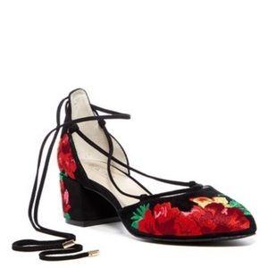 Kenneth Cole Reaction ankle tie block heels.